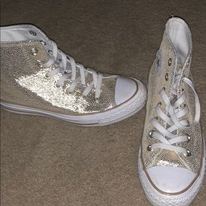 Gold converse high tops